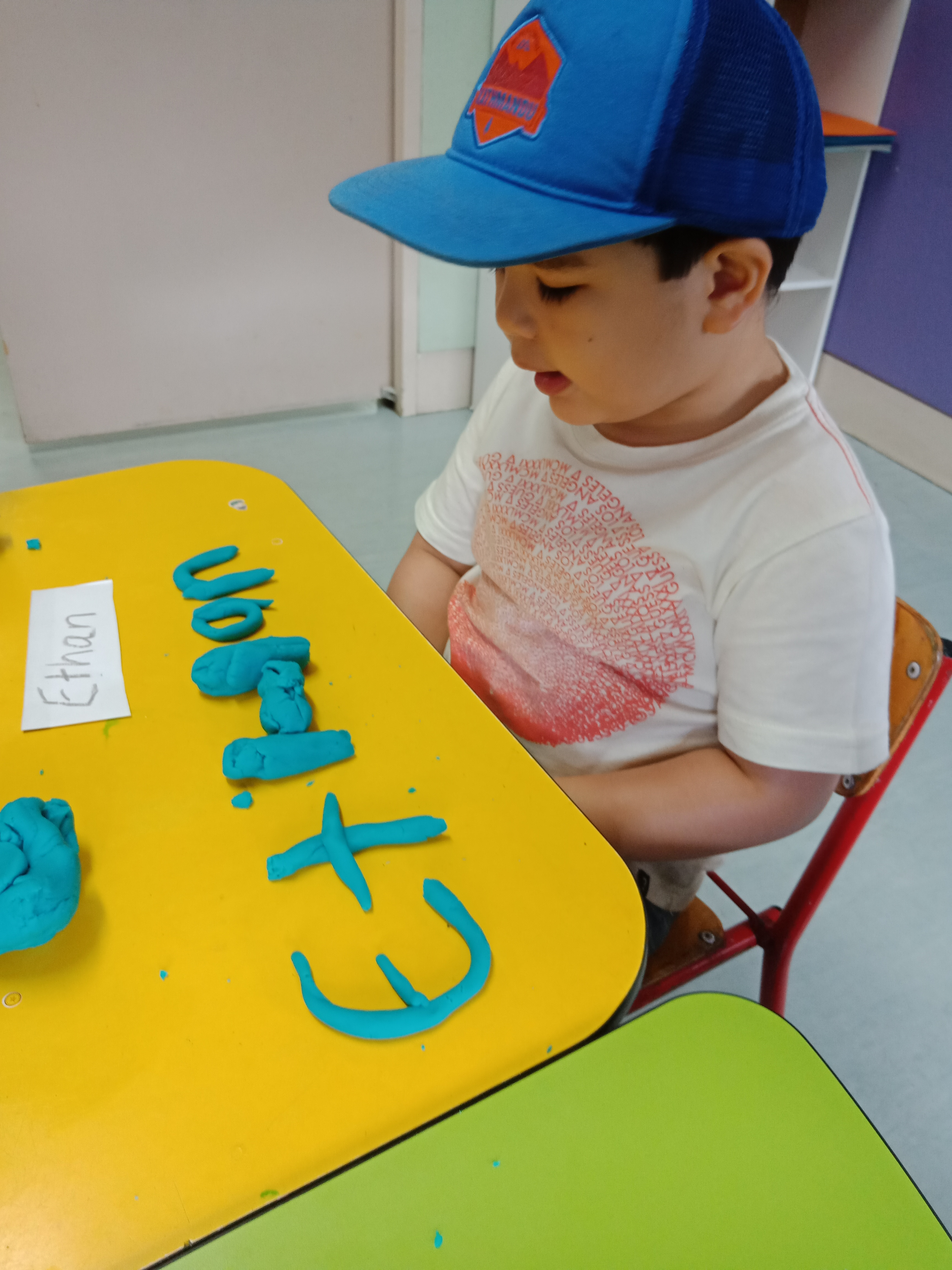 Name writing with play dough